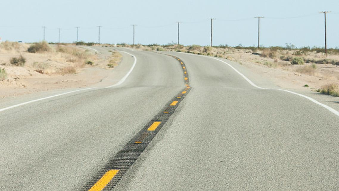 An empty road in Imperial County, California