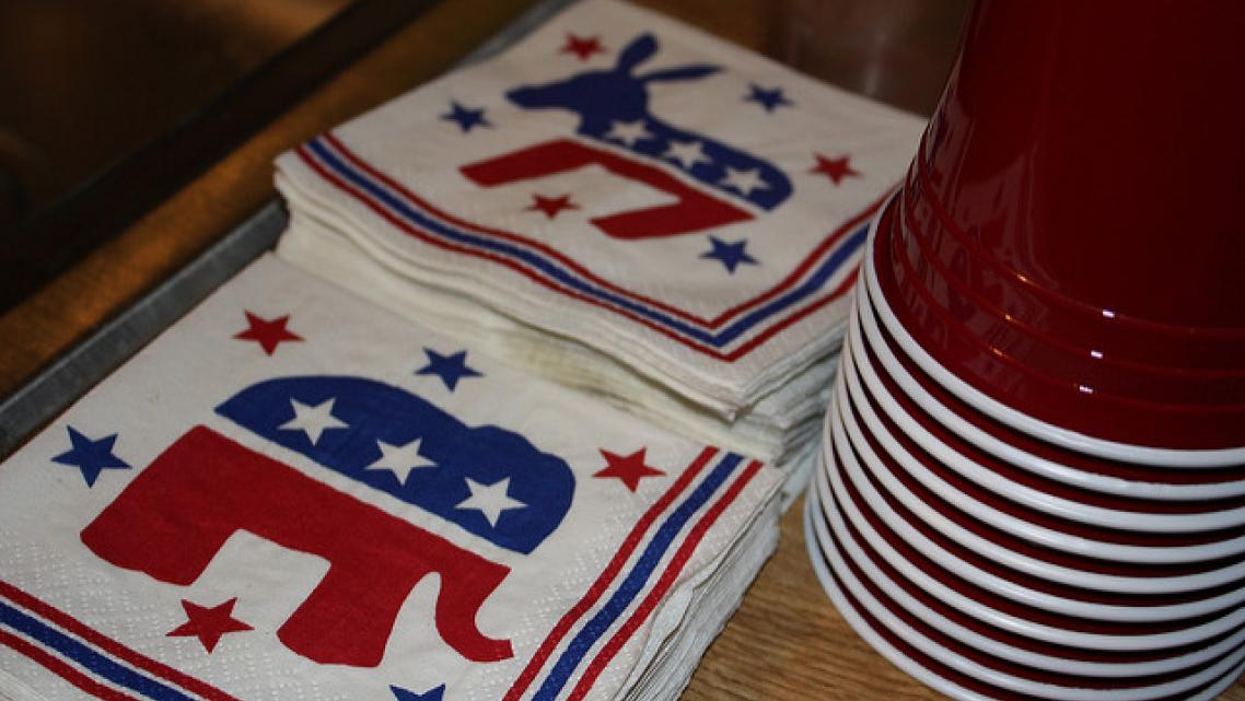 Republican and Democrat party cups and napkins