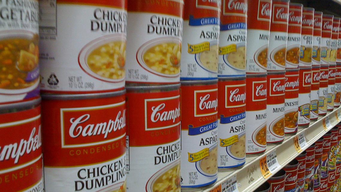 soup aisle at the grocery store
