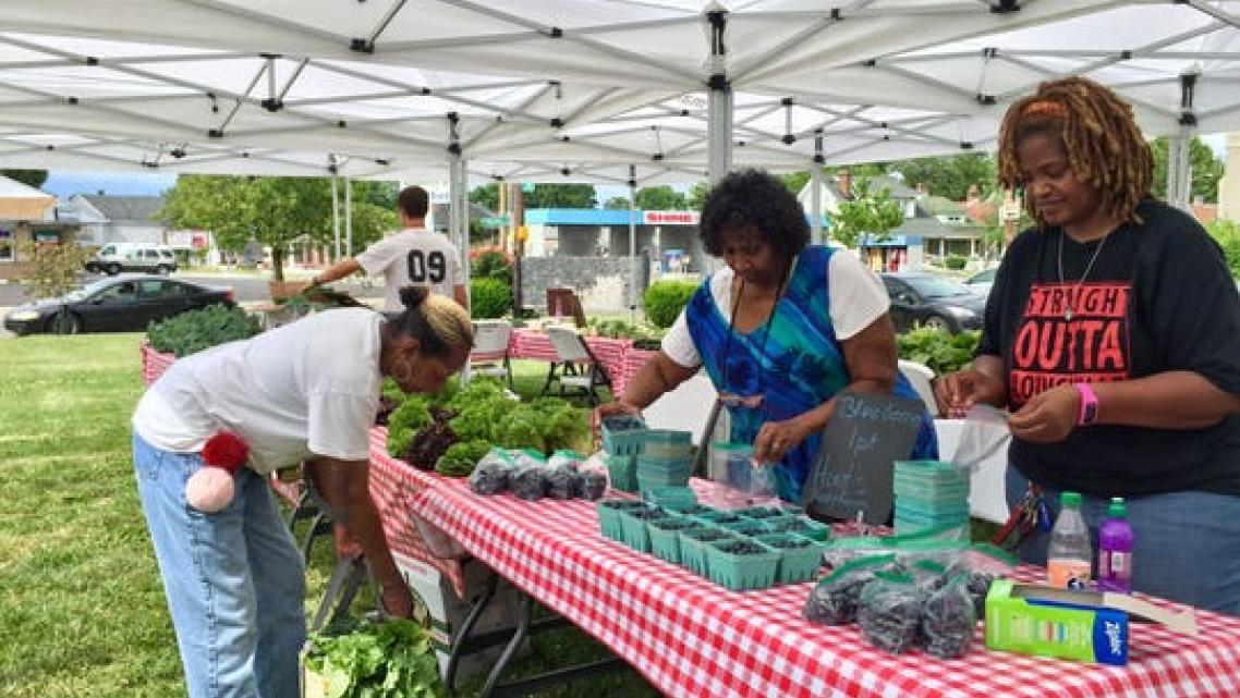 Volunteers set up a Fresh Stop Market in the Parkland neighborhood.