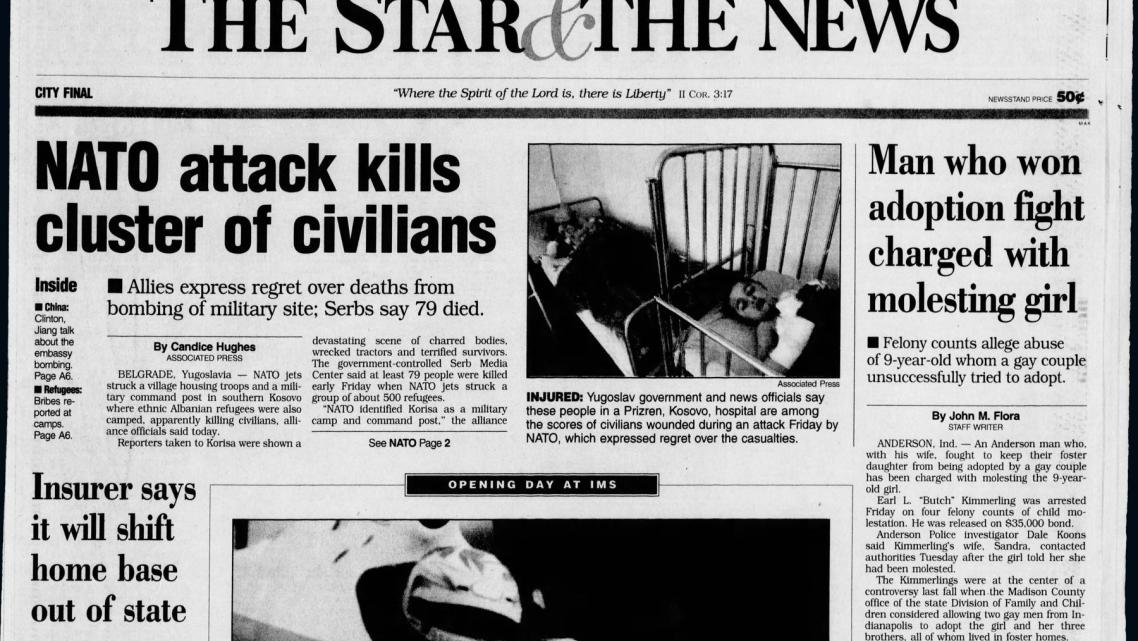 The May 15, 1999, edition of The (Indianapolis) Star & the News made public the child molestation charges.