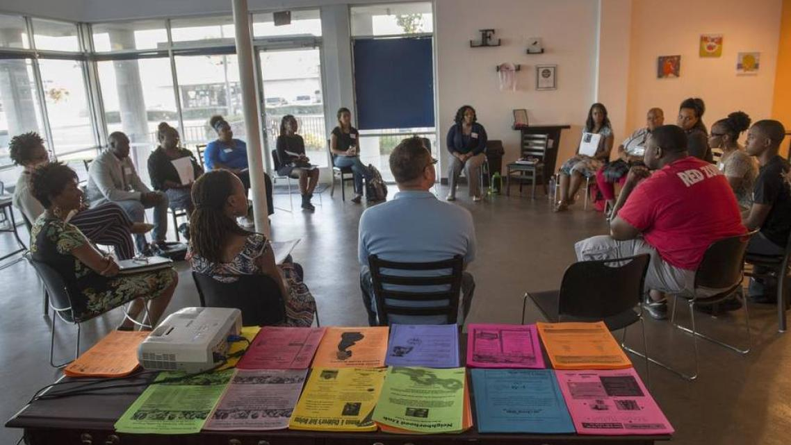 Community leaders meet every month at the Arcade Community Center.
