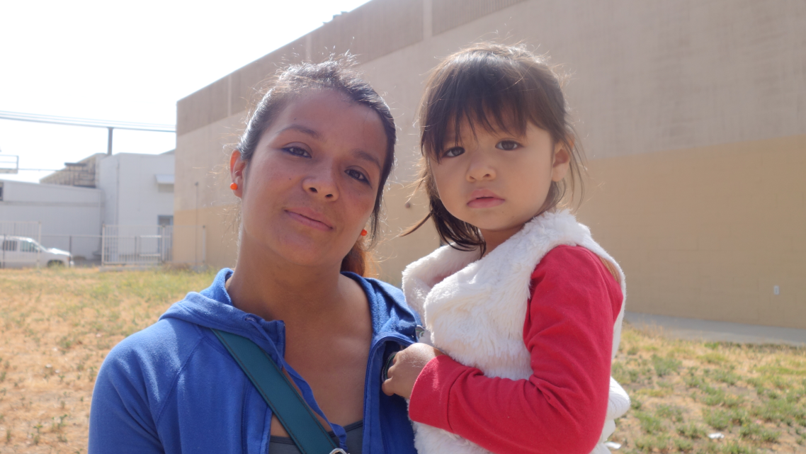 Maria Martinez and daughter Jackie attend a First 5 free produce giveaway in Santa Paula. (Photo by Kit Stolz)