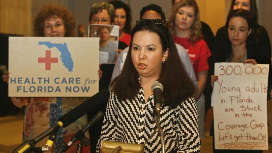 Isabel Betancourt speaks at the Capitol in Tallahassee on April 15, 2015. Betancourt, a resident of Hialeah with rheumatoid arthritis, began paying for her health plan out of pocket after five months of being uninsured because she falls into the Medicaid coverage gap. (Phil Sears/Special to the Herald)