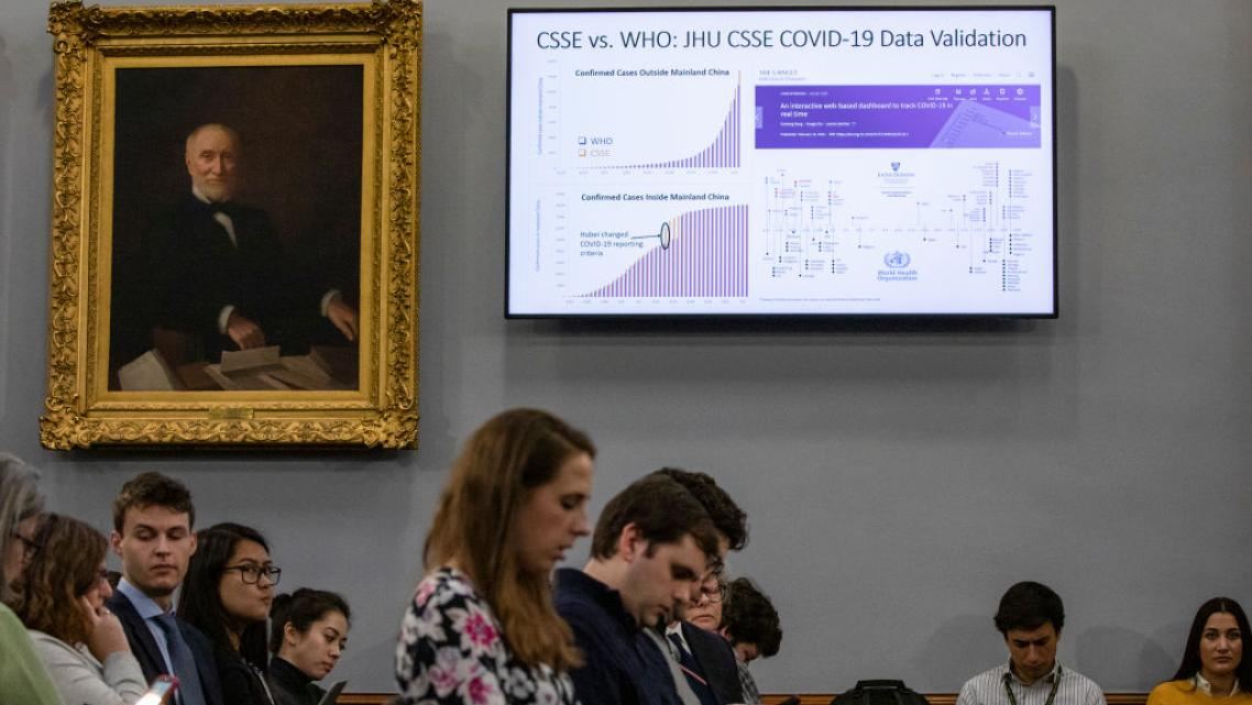 Researchers gather at a COVID-19 briefing at Johns Hopkins University on March 6, when there were only 14 reported deaths. Pred