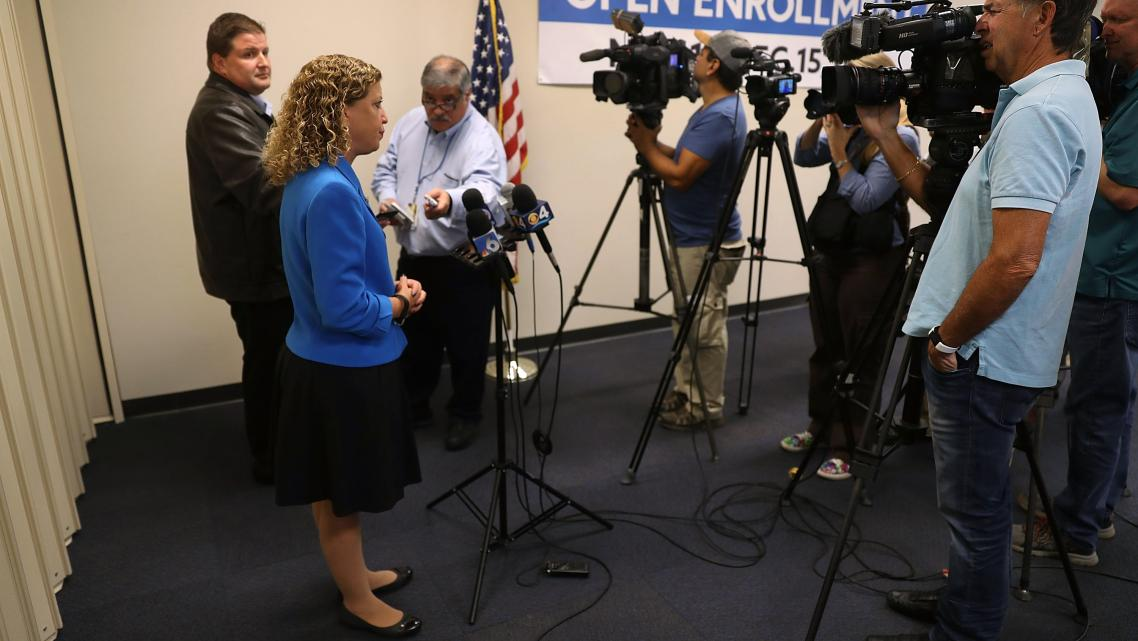 Rep. Debbie Wasserman Schultz (D-FL) talks to reporters Tuesday at a press conference about the Affordable Care Act in