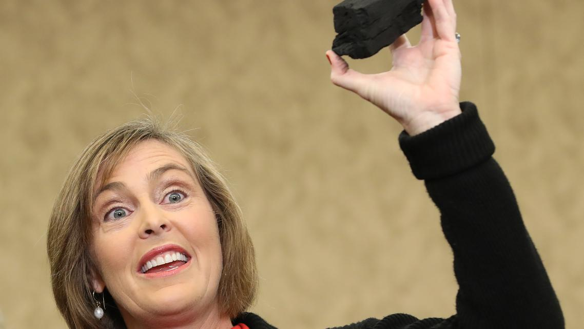 Rep. Kathy Castor (D-FL) got very literal with her metaphors on Wednesday, holding up a piece of coal during a press conference