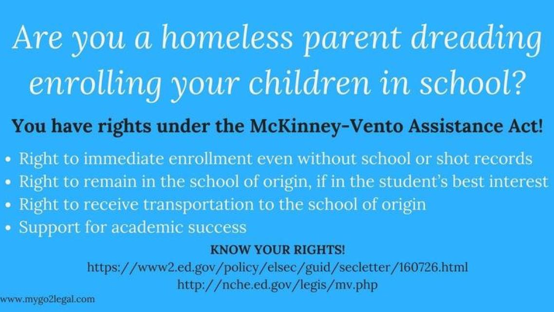 The Mckinney Vento Homeless Assistance Act offers rights and services to homeless students. But a state audit recently found wid