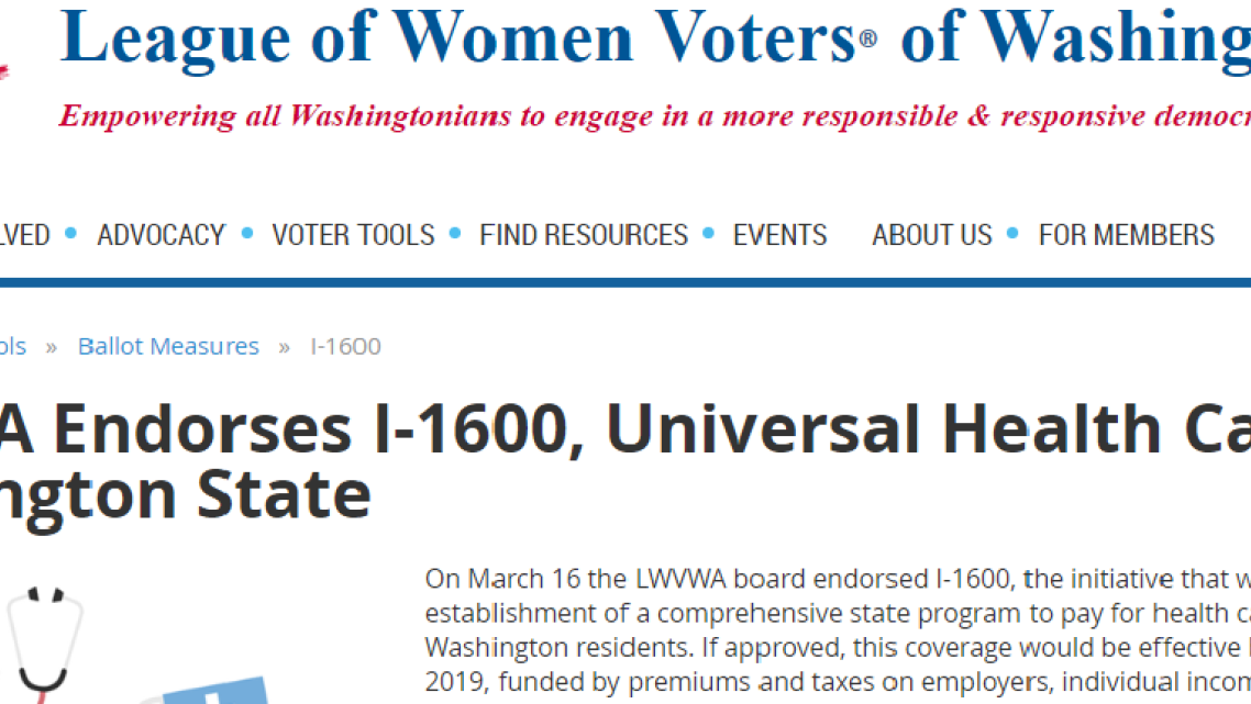 Washington State league of Women Voters endorsement of the single payer ballot measure