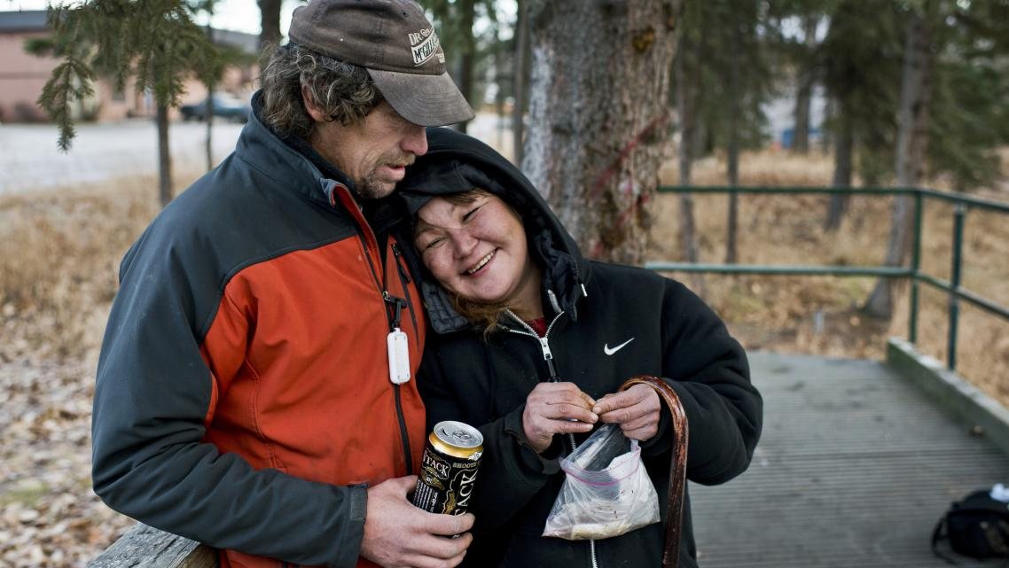 A married homeless couple profiled by Alaska Dispatch News. [Photo by Marc Lester/ADN]