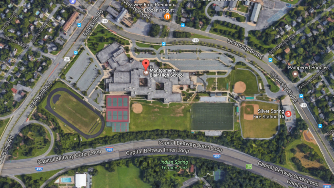 Montgomery Blair High School in Silver Spring, Maryland — hemmed in by three roads, including Washington's Beltway.