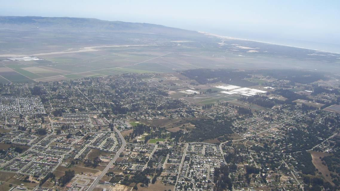 Aerial views of the Nipomo Mesa show a plume of dust that sweeps through the community on windy days.