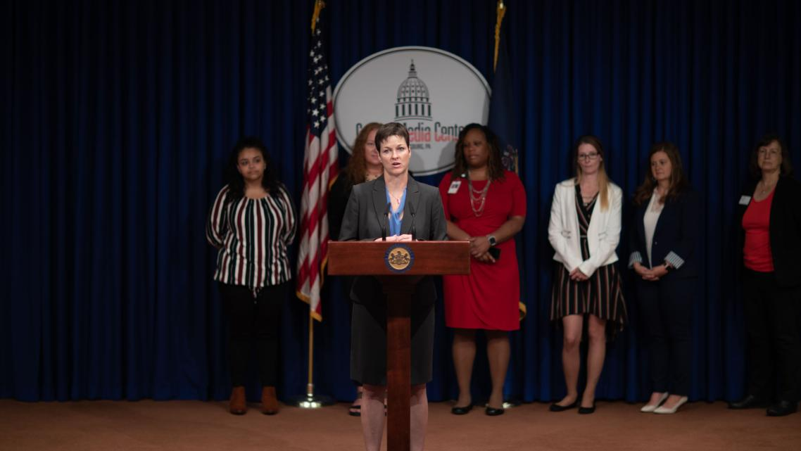 Pennsylvania Human Services Secretary Teresa Miller speaks at a press conference highlighting Keystone Education Yields Success,