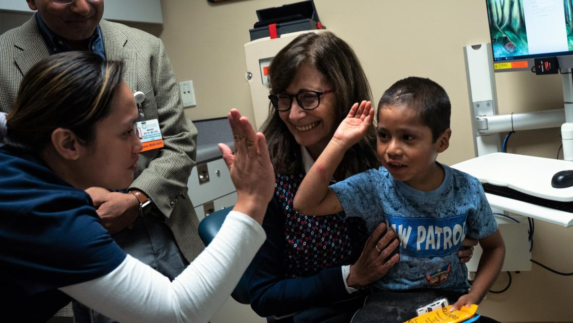 Six-year-old Abraham Gonzalez-Martinez celebrated a successful checkup at UCLA