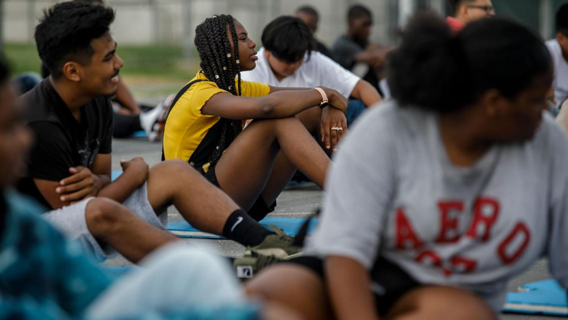 Aaliyah attends PE class at Washington Prep High School in Los Angeles. (Marcus Yam / Los Angeles Times)