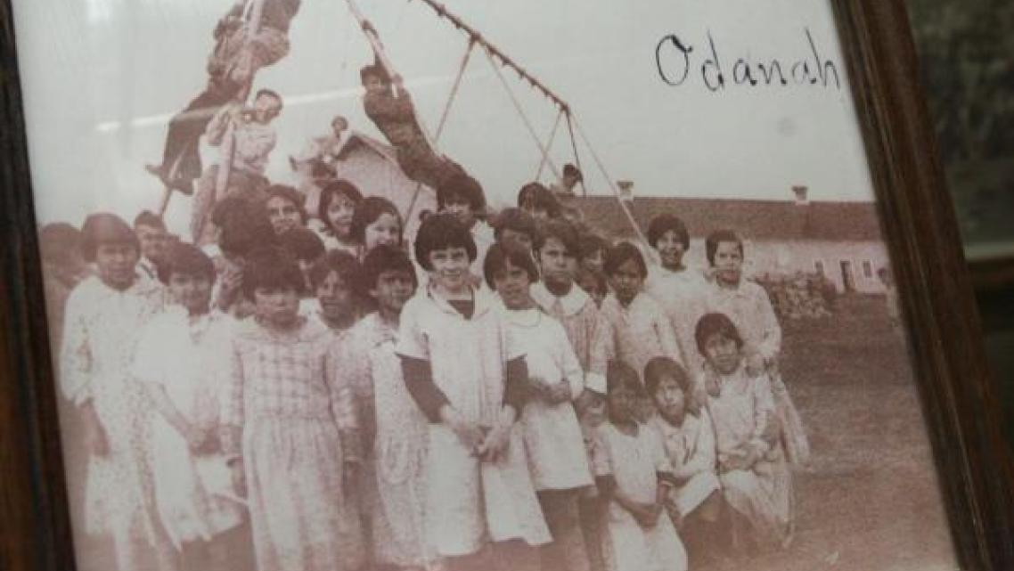 Old photo of children at St. Mary's Indian boarding school. Mary Annette Pember