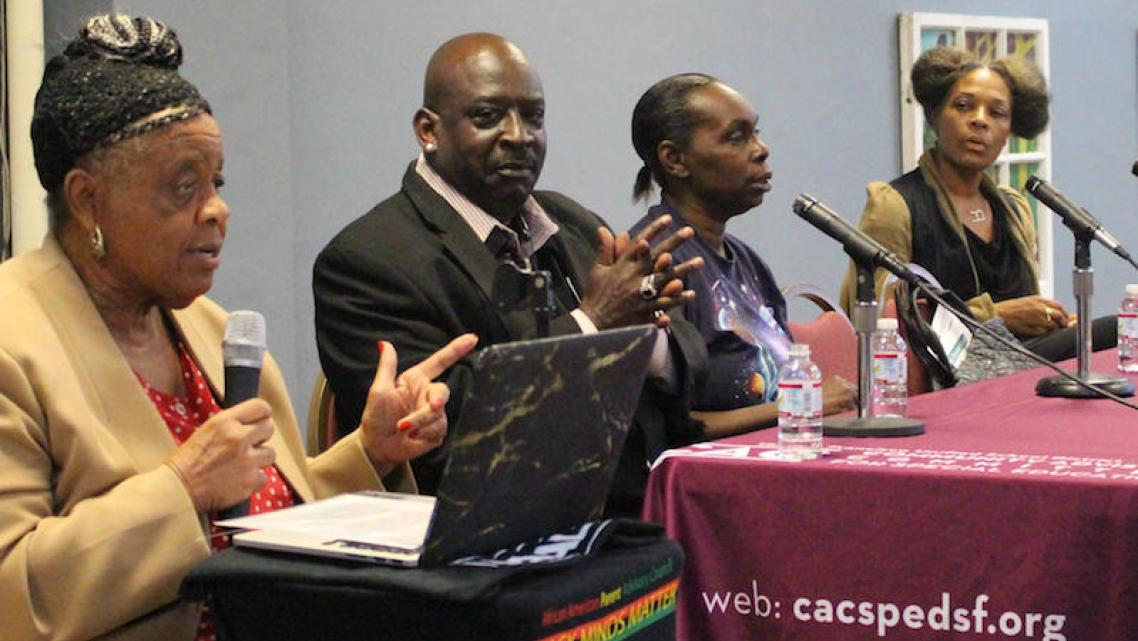 Panelists at the Learning While Black in SFUSD community forum