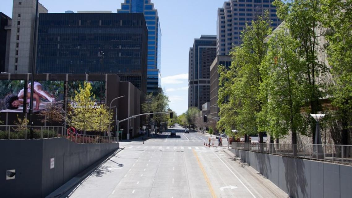 A street in downtown Sacramento during California's COVID-19 stay at home order.