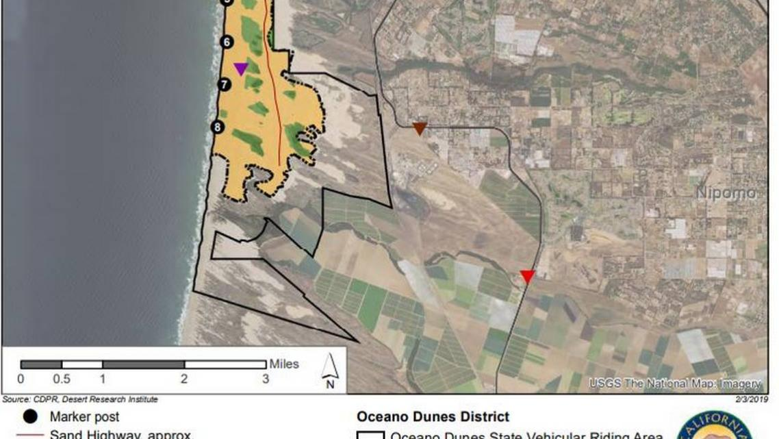 A map of the Oceano Dunes State Vehicular Recreation Area shows locations in green that would be fenced off from off-road riding
