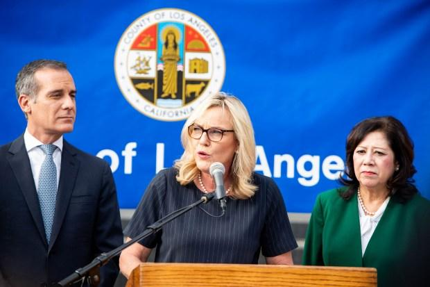 Flanked by Mayor Eric Garcetti and Los Angeles County Supervisor Hilda Solis, Supervisor Kathryn Barger speaks as public health officials and city and county leaders declare a local public health emergency as the number of coronavirus cases increase in Los Angeles County on Wednesday, March 4, 2020. (Photo by Sarah Reingewirtz, Pasadena Star-News/SCNG)