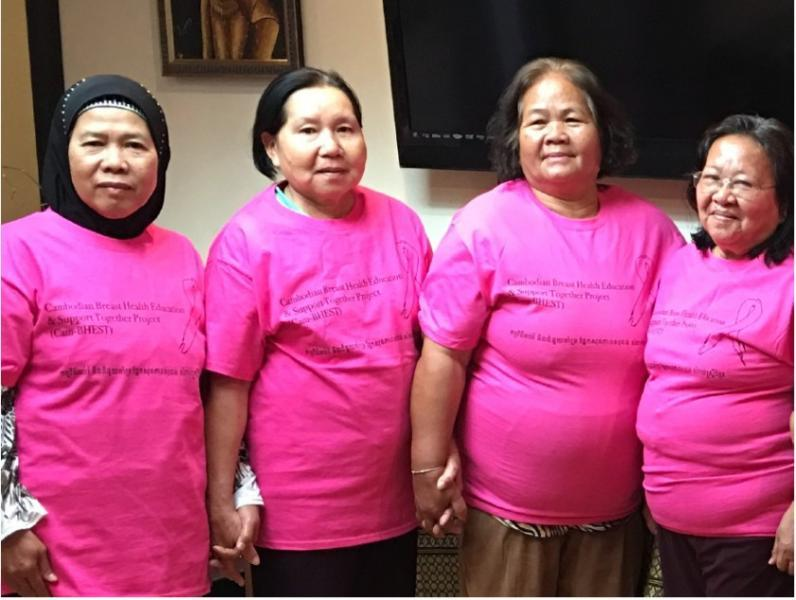 Four women wearing Cambodian Family's Cambodian Breast Health Education and Support Together Program t-shirts.(Courtesy of the Cambodian Family staff)
