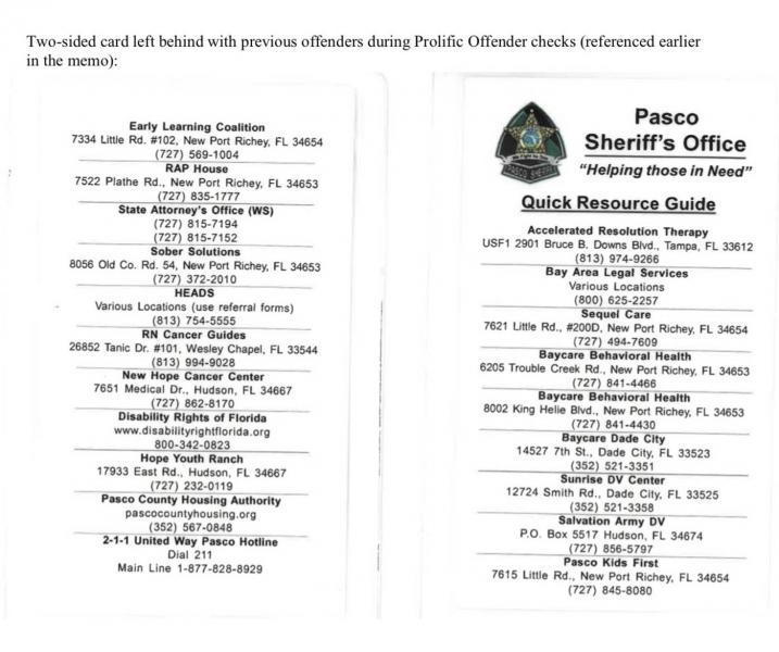 A copy of the notecard the Pasco sheriff's office hands out with local resources. Pasco Sheriff's Office