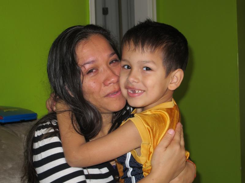 Reyna Paniagua with her son Kevin (6).