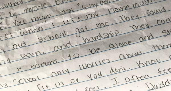 """A hand-written draft of a story about a fictional Cleveland teen named """"Elizabeth."""""""