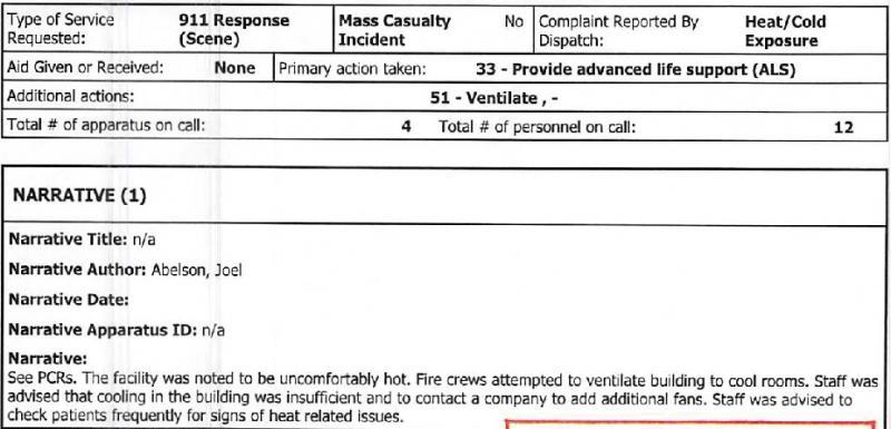Report from North County Fire Authority about conditions found at St. Francis Pavilion, in response to a 911 call from a facility nurse, on September 2, 2017.