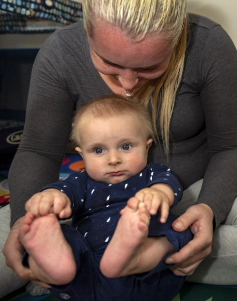 Leah Renee Tonelli plays with her 7-month-old son Noah at the MFI Recovery Center in Pasadena where they are both staying. (Photo by Mindy Schauer, Orange County Register/SCNG)