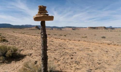 An informal road marker near Sanostee. Photograph: Don J Usner/Searchlight New Mexico
