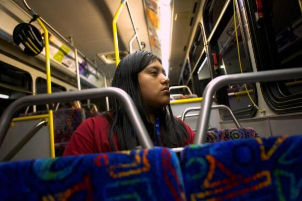 Resi Salvador takes a 40-minute bus ride from CSU Monterey Bay in Seaside, where she goes to school, to her parents' home in Salinas. SEBASTIÁN HIDALGO FOR THE SALINAS CALIFORNIAN AND CATCHLIGHT.IO