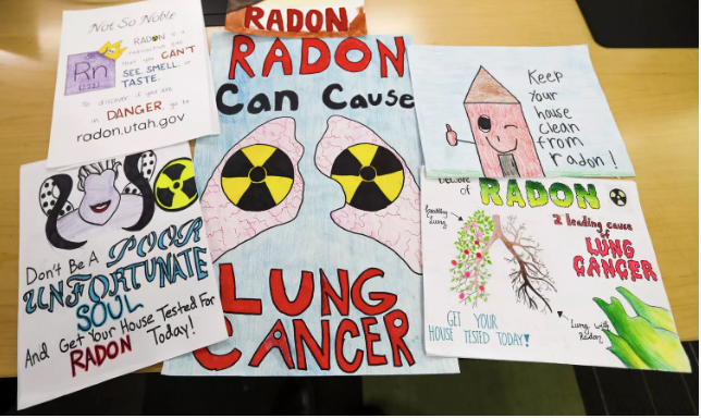 Winners in the 2020 state radon poster contest at the Utah Department of Environmental Quality offices in Salt Lake City on Monday, Dec. 16, 2019. (Steve Griffin, Deseret News)