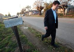 Jared Blumenfeld takes a short walk in Tulare County community of Orosi on Jan. 25.