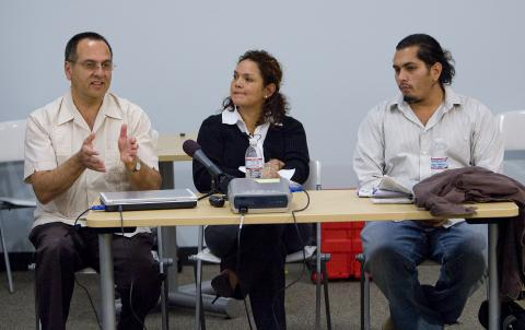 (Left to right) Alex Morales, Vanessa Lopez and Davin Corona discuss the health implications of substandard housing.