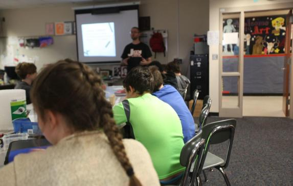 Students listen to a lecture in March at Sarah Scott Middle School in Terre Haute. The city is the county seat of Vigo County.