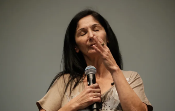 Nora Soliz speaks at the Storyteller Project: Stories of homelessness at UCR Campus in Palm Desert on May 30, 2019.