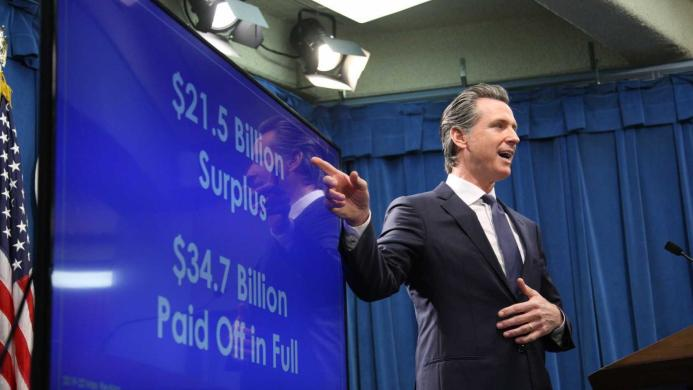 California Gov. Gavin Newsom presents his revised 2019 budget proposal May 9, 2019, in Sacramento, Calif.