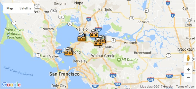 Refineries In California Map.Historic Vote Could Freeze Bay Area Refinery Emissions Levels