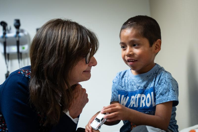 UCLA pediatric immunologist Dr. Maria Garcia-Lloret with six-year-old valley fever patient Abraham Gonzalez-Martinez ^(Credit: UCLA)