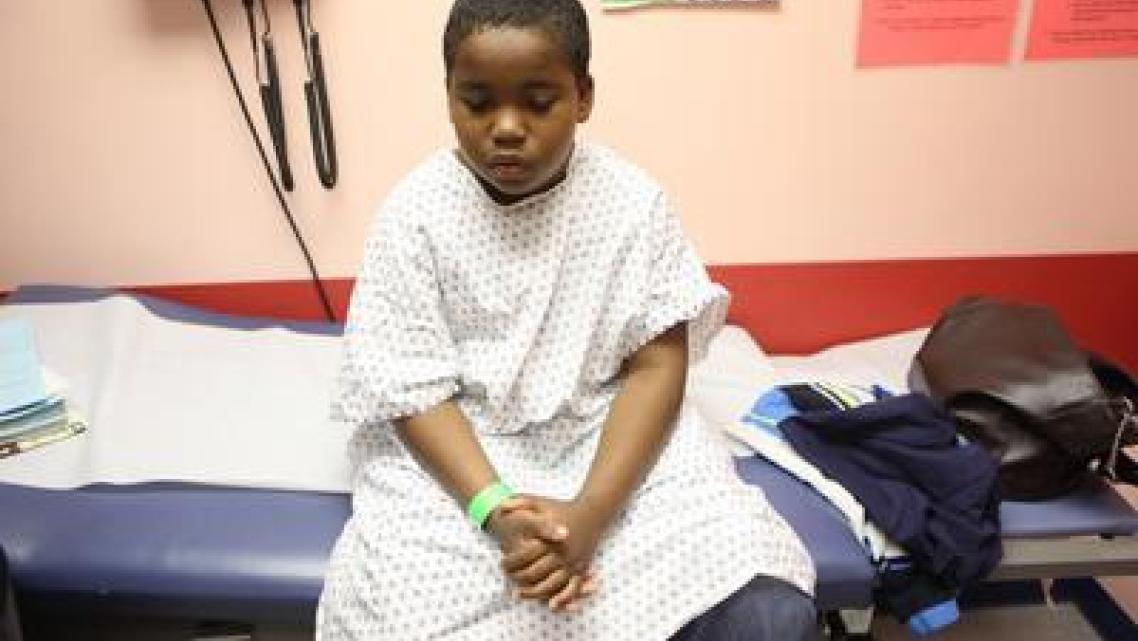 John Fitzpatrick awaits his appointment during his monthly asthma clinic at Children's Hospital Oakland in Oakland, Calif., on T