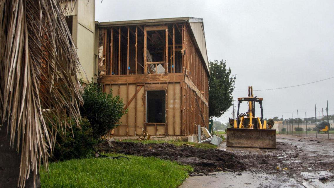 Apartments at Carriage Park Apartments are under construction after being damaged by Hurricane Harvey.