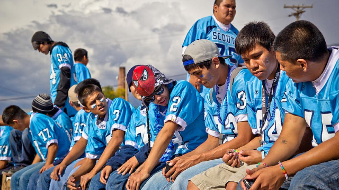 A high school football team in the Navajo Nation community of Fort Defiance, Arizona.