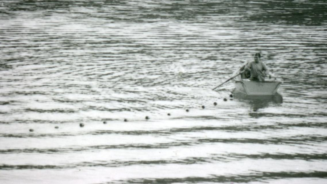 A local fishermen uses a gill net on the Klamath River in this 1978 photo.