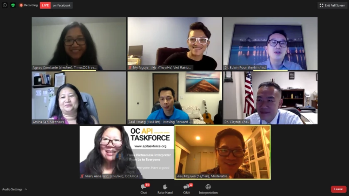 Attendees at an online panel discussion on Asian American gender-based violence in May.