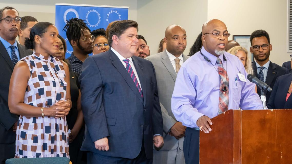 Kilroy Watkins voices support for a new Illinois law that protects the right to vote for people in detention awaiting trial.