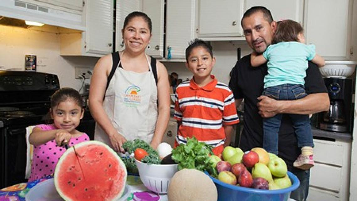 A fresh start: Roseland's Alejandra Sarmiento, second from left, has helped put her family on a healthier track with fresh food and exercise.