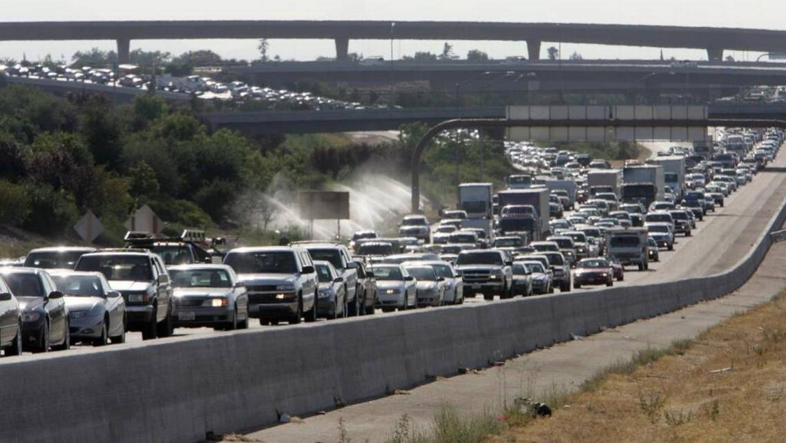 Traffic at the 41 and 180 freeway interchange in Fresno, California.
