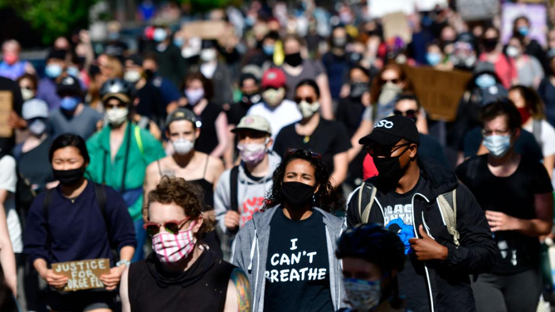 Protesters march in Philadelphia, Pennsylvania, in early June. For many, the urgency of ending police violence and harassment dr