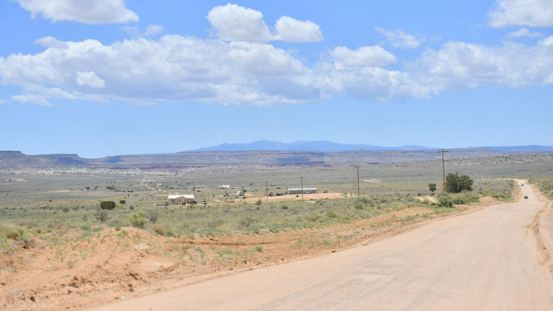 Homes on the To'Hajiilee Indian Reservation, New Mexico, part of the Navajo Nation.
